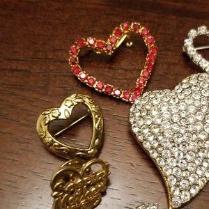 Vintage Jewelry - 10 Piece Heart Brooch/Pin Bundle